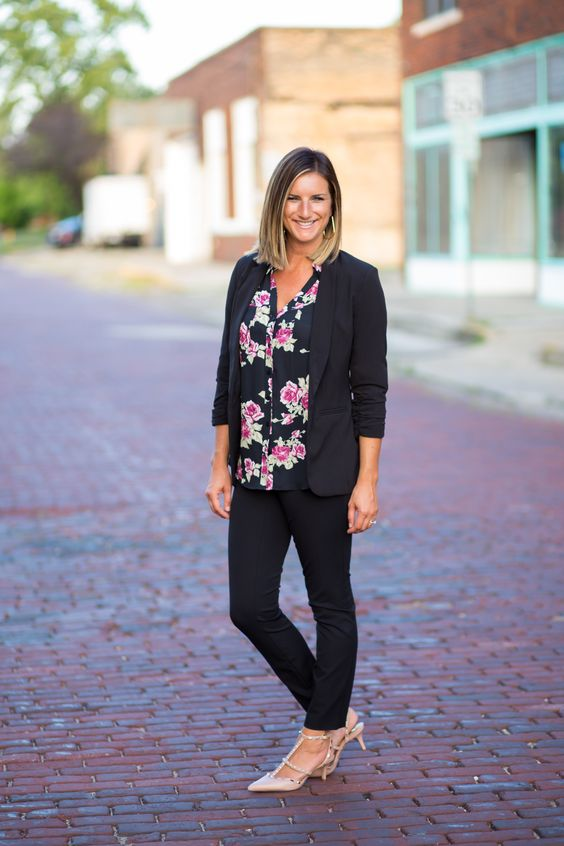 black pants, black blazer, print top, nude pumps