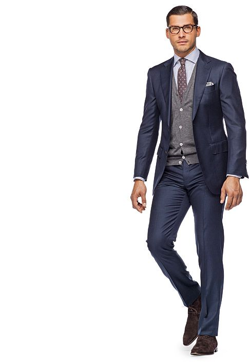 Suit Navy Plain Napoli P2778i | I can do without the sweater underneath, but navy is the next suit.  SuitSupply has great reviews for price/quality.