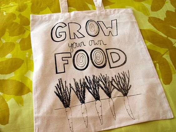 Handscreenprinted Grow Your Own Food TOTE BAG by bluebicicletta, $15.00