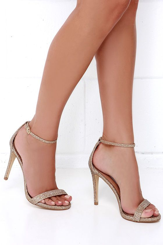 Steve Madden Stecy Gold Fabric Ankle Strap Heels Gold