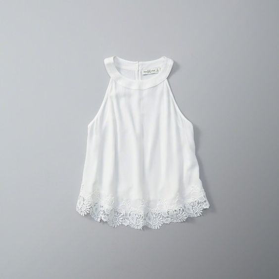 Abercrombie & Fitch Lace Trim Swing Tank ($38) ❤ liked on Polyvore featuring tops, white, halter tank, white halter tank top, lace trim tank top, abercrombie fitch top and halter-neck tops