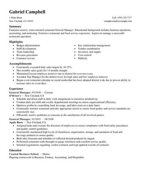 General Manager Job Resume Examples Manager Resume Restaurant