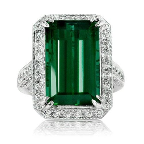 1130CT Vintage Tourmaline Pave VVS Diamond Engagement by Pompeii3, $8799.00