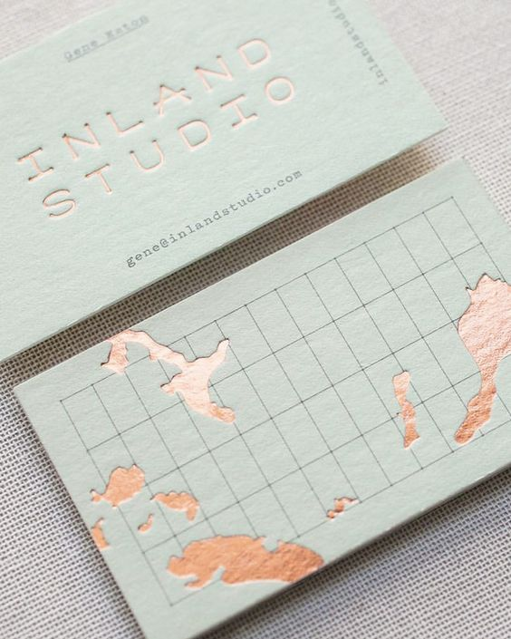 pistachio copper foil business cards for Inland Studio