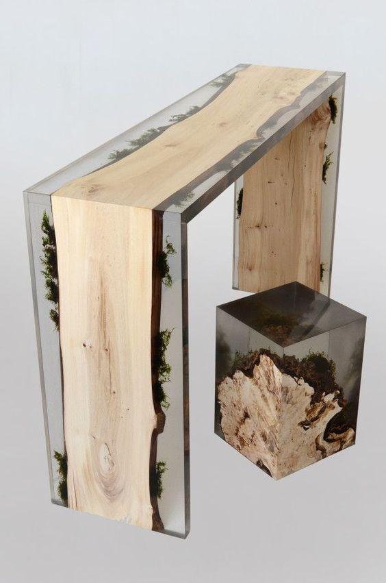 Alcarol Focuses On Bringing Natural Materials Into Avant-garde Furniture/Trail Console,Stump Stool