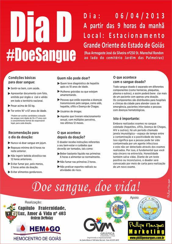 Panfleto e email marketing para a campanha de doação de sangue