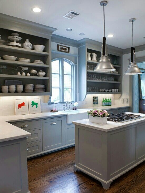 Sally Wheat kitchen. Come see 36 Best Beautiful Blue and White Kitchens to Love! #blueandwhite #bluekitchen #kitchendesign #kitchendecor #decorinspiration #beautifulkitchen