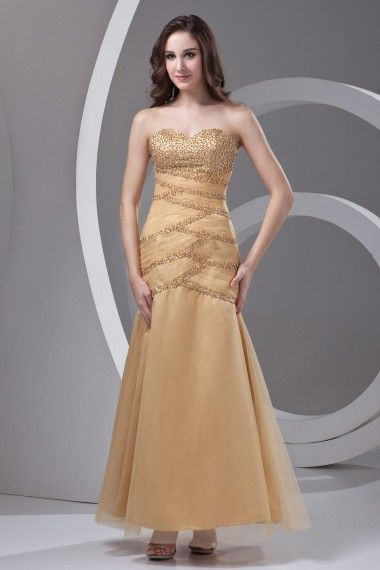 Satin and Net Strapless Sheath Floor Length Embroidered Prom Dress - WooVow