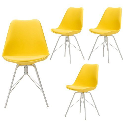 Yurucy Office Dining Chairs Kitchen Candy Color Furniture Chair Set Of 4 Side White Metal Assembled Legs Ch Colorful Furniture Living Room Office Dining Chairs