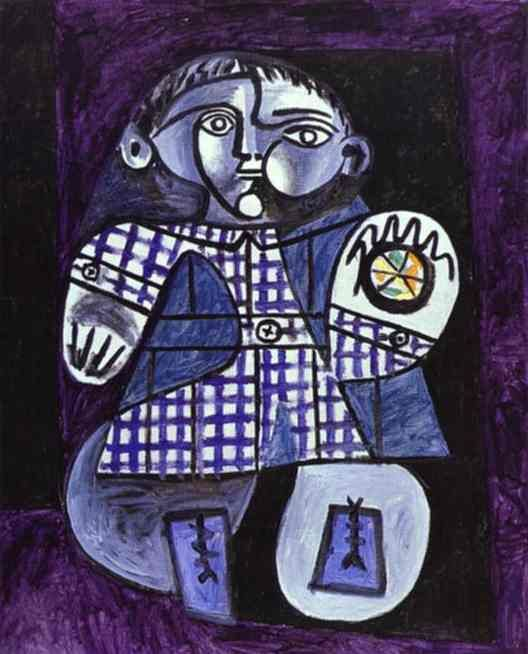 Pablo Picasso is an artist featured in Abrakadoodle's art program for children! Picasso created this painting, Claude, Son of Picasso, in 1948 ~ thanks to the Picasso Gallery on Blogspot. Abrakadoodle students are inspired by Picasso's use of shapes, collage and lines to create original masterpieces.: