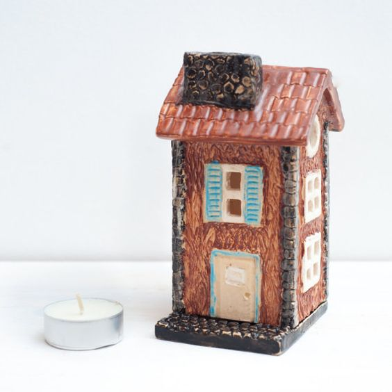 Ceramic Candle Holder in form of house Ceramic by NCeramics