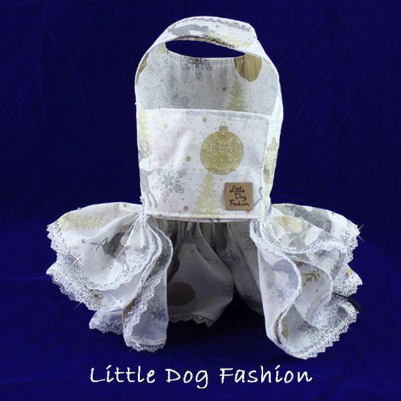 Vestidos de lujo Navidad perro cordón Reno de por LittleDogFashion