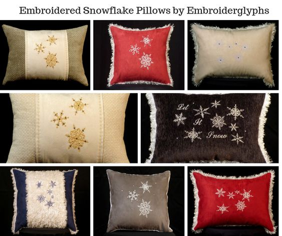 Embroidered Snowflake Pillows by Embroiderglyphs