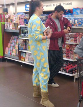 Image result for wearing pajamas to walmart