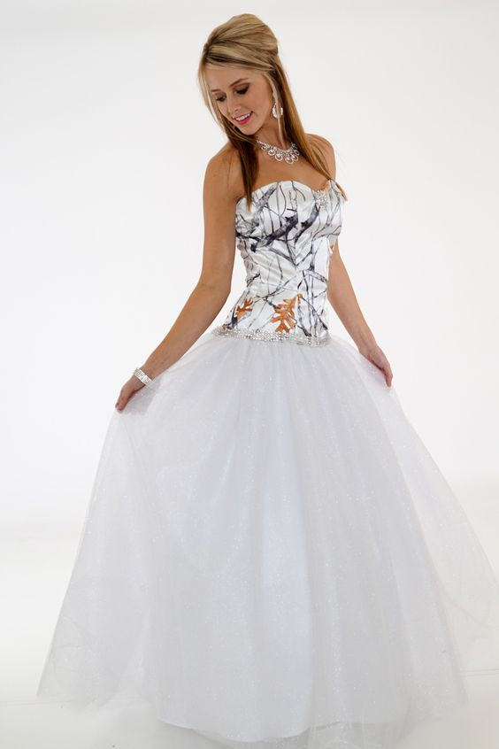 Camo Ball Gown shown in White Snowfall True Timber and White Net with rhinestone trim