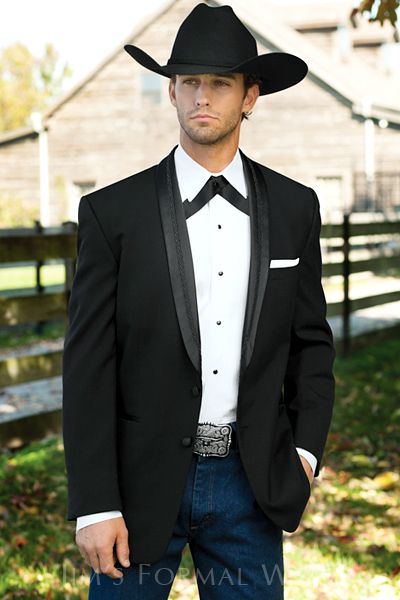 El Rey black Western Tuxedo shown with crossover tie jeans and