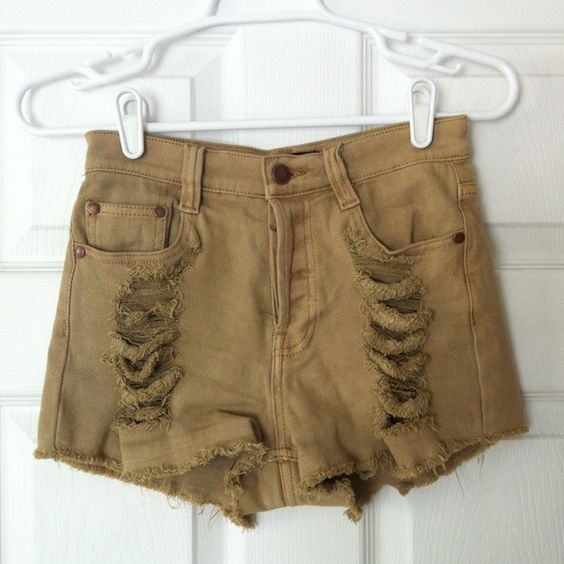 Mink Pink Slasher Flick Authentic Mink Pink Slasher Flick shorts in rare beige color. Button fly. Sits high waisted. Shows a little cheek but that's the whole point! mink pink Jeans