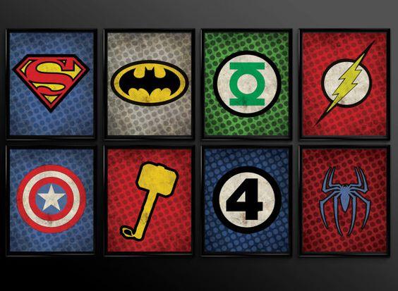 Superhero Kids Wall Art Decor Nursery Superman Batman Robin Comic Book Superheroes Set of 16 logos - Baby Shower.