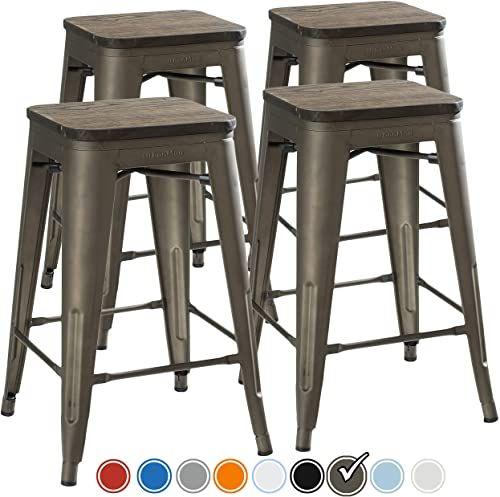 New Urbanmod 24 Inch Bar Stools Kitchen Counter Height Indoor Outdoor Metal Rustic Gunmetal Wooden Seat Online Shopping Seetopstar In 2020 Metal Bar Stools Kitchen Bar Stools Outdoor Bar Stools