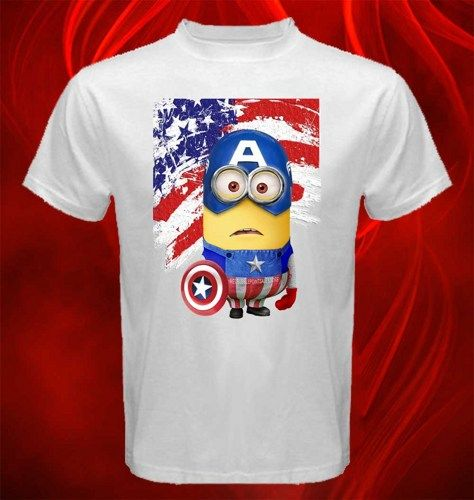 Tshirt Despicable Me Minions With Captain America Costume Adult unisex, US $16.50