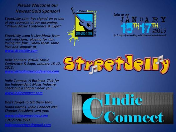 "Welcome our new Sponsor @streetjelly for our Indie Connect ""Virtual Music Conference"" Show them some love & support www.streetjelly.com www.virtualmusicconference.com Don't forget to tell them Diana, Indie Connect NYC Chapter Prez sent you!:"