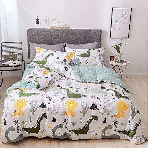 Lelva Bedding For Boys Cartoon Dinosaur Print Duvet Cover Set Full Size Kids Quilt Cover Set 4 Piece Cotton Fl Bedding Sets Boys Bedding Sets Kids Bedding Sets