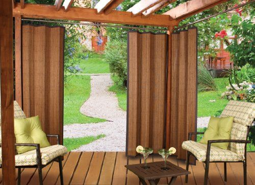 Bamboo Ring Top Curtain Brp12 40 Inch L X 84 Inch H Indoor Outdoor Panel Espresso Brown