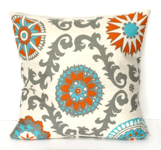 Pillow Cover -  DECORATIVE PILLOW Cover - THROW Pillow - 18 x 18 - Mandarin Orange Blue Turquoise Rosa