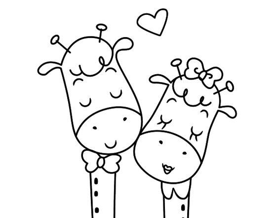Dibujo De Jirafas Enamoradas Para Colorear Dibujos Faciles De Amor Dibujo De Jirafa Dibujos Faciles