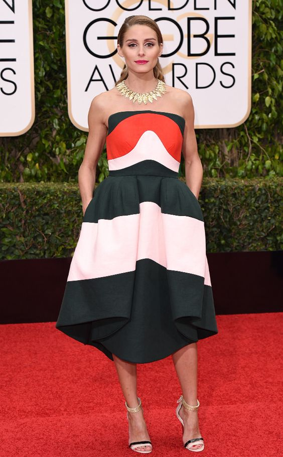 The 3 best ‪#‎GoldenGlobes‬ dresses ‪#‎ConGuantesySombrero‬ 3 - Olivia Palermo by Delpozo ‪#‎RedCarpet‬ vía @eonline