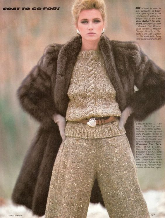 Vogue September 1981 Sable Fur Coat. | The Decade of Fur 1980&39s