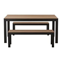 IKEA   FALSTER, Table+2 Benches, Outdoor, Black/brown, ,