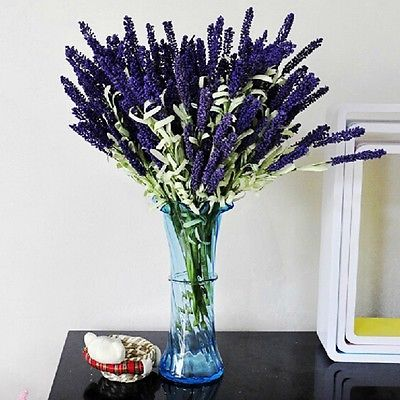 12 Heads Artificial Lavender Fake Flower Bouquet Home Wedding Party Garden Decor