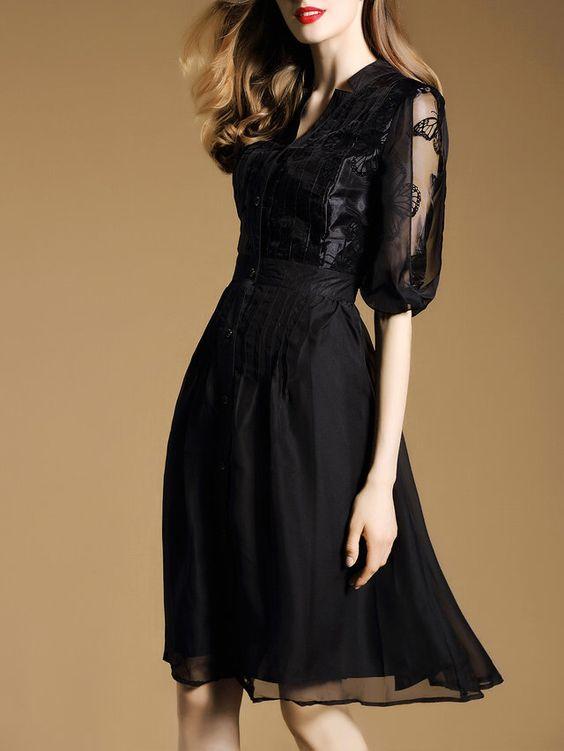 Black Balloon Sleeve Buttoned Polyester Elegant Midi Dress