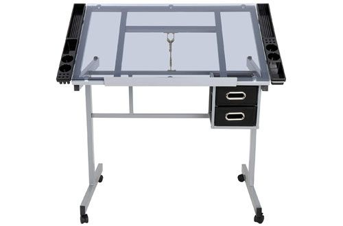 7 Zeny Adjustable Tempered Glass Top Drafting Table Desk Drawing Table Drafting Table Artist Drawing Table