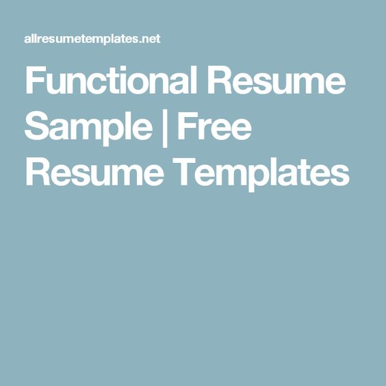 Functional Resume Example Functional resume, Resume examples and - example functional resume