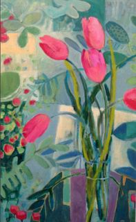 "Annie O'Brien Gonzales-Contemporary Abstract Still Life Flower Tulip Art Painting ""Spring Sunrise"" by Santa Fe Artist Annie O'Brien Gonzales-http://annieobriengonzalespaintings.blogspot.com/2015/02/contemporary-abstract-still-life-flower_2.html"