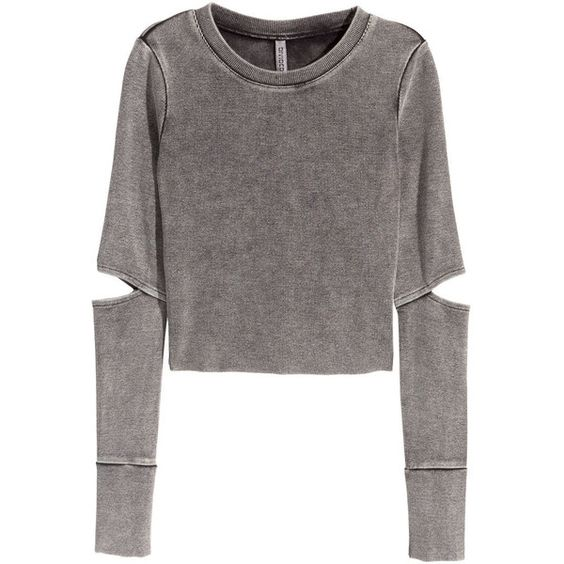 H&M Jersey crop top (30 CAD) ❤ liked on Polyvore featuring tops, crop tops, sweaters, dark grey, jersey crop top, jersey tops, h&m, long sleeve tops and ribbed crop top