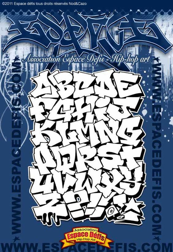 1 - Alphabet graffiti block style pour être mis en couleur - Vous avez choisi celui-ci ! participez au sondage en votant le N° 1