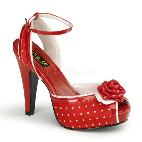 """Check out these adorable shoes!   Red Polka Dot Peep Toe Heels featuring a 4 1/2"""" Heel with 1"""" Hidden Platform with Red Satin Material, Ankle Strap and Highlighted with a gorgeous rosette"""