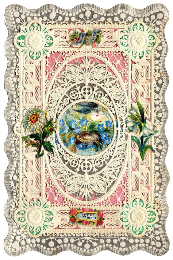 Antique Valentines - Bunnies, Birds and Butterflies - The Graphics Fairy: