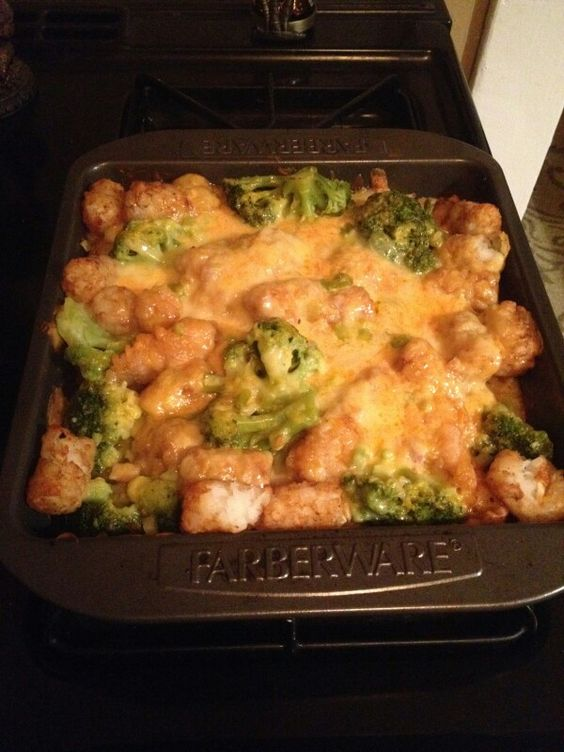 Tater tot, broccoli, chicken, cream of chicken, milk and onion - top with cheese. Cover with foil, bake at 400 degrees for 45min