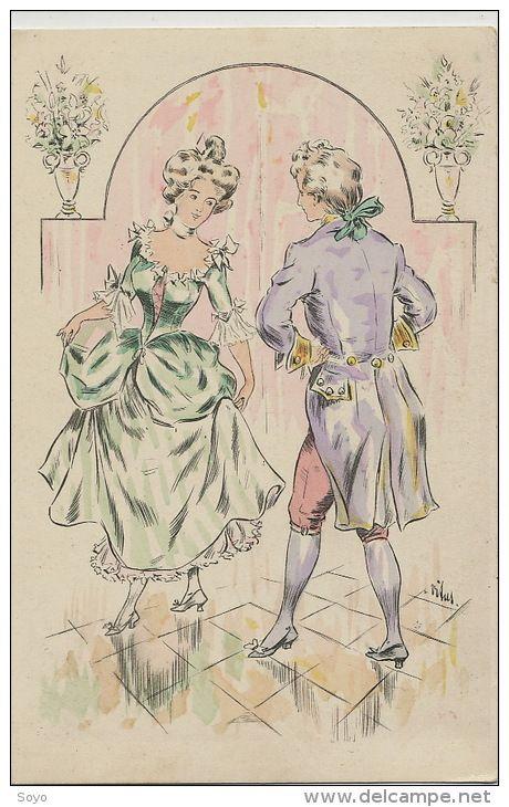 Belle Carte Dessin Illustrée Signée Vitus Danse Le Menuet