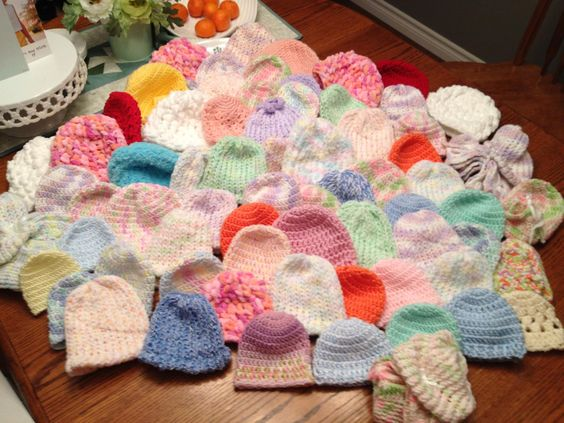 Preemie hats, mitts, booties off to The Crochet Crowd (mikeysmail) Donation Drive for Crafting for a Cure. 2012. http://www.thecrochetcrowd.com/en/ http://www.thecrochetcrowd.com/en/component/content/article/90-crafting-for-a-cure/crafting-for-a-cure/125-crafting-for-a-cure-donations-accepted.html Patterns here: http://www.redheart.com/free-patterns/preemie-hats https://www.youtube.com/watch?v=op34eCoDDSM&list=PL032B9A5427F7883D&index=1: