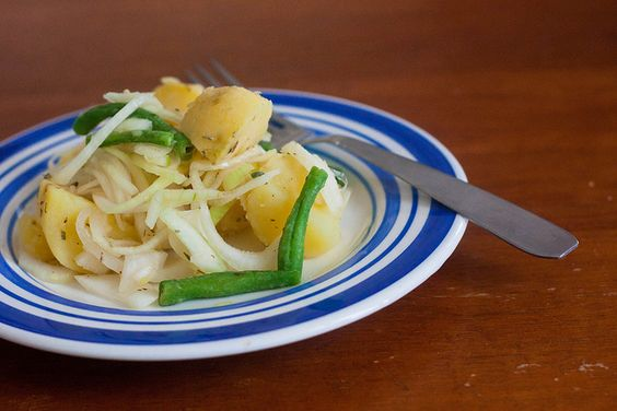 Herb, potato, green bean and onion salad (I used whole baby yukons, green beans, frozen corn, white wine vinegar, dried parsley and dried onions. DELISH. Couldn't stop snacking.)