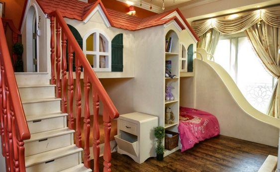 Kinderhochbett treppe  Wunderbar Kinderzimmer Kinderhochbett haus treppe orange regale ...