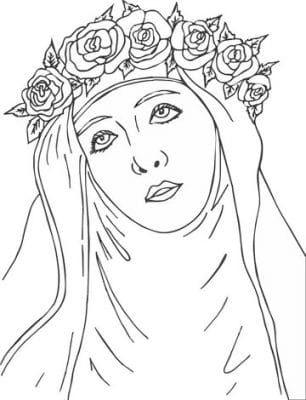 imagenes de santa rosa de lima para colorear