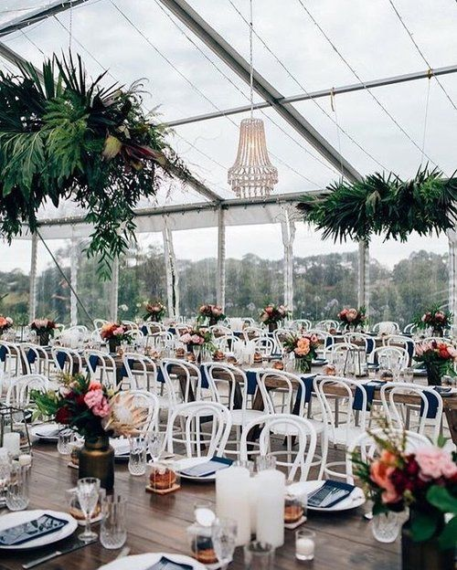 Our white bentwood chairs & timber feasting tables looking so beautiful for Jenna + Paul's Byron Bay wedding 🌿 Created by the talented team at @theeventslounge with florals by @poppyandfernflowers ✨ Image by @figtreepictures - tap for suppliers 🌿
