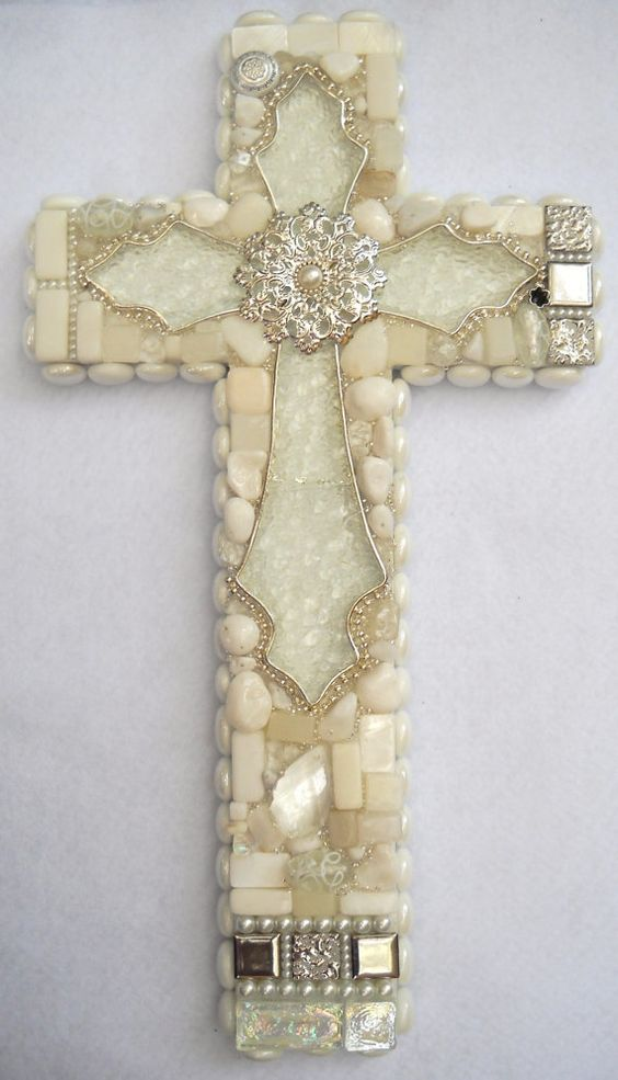 Handmade white wall cross with sparkling glass centerpiece