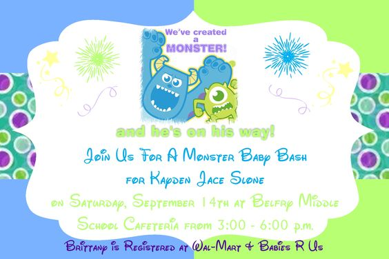 baby shower invitations baby showers monster baby showers invitations